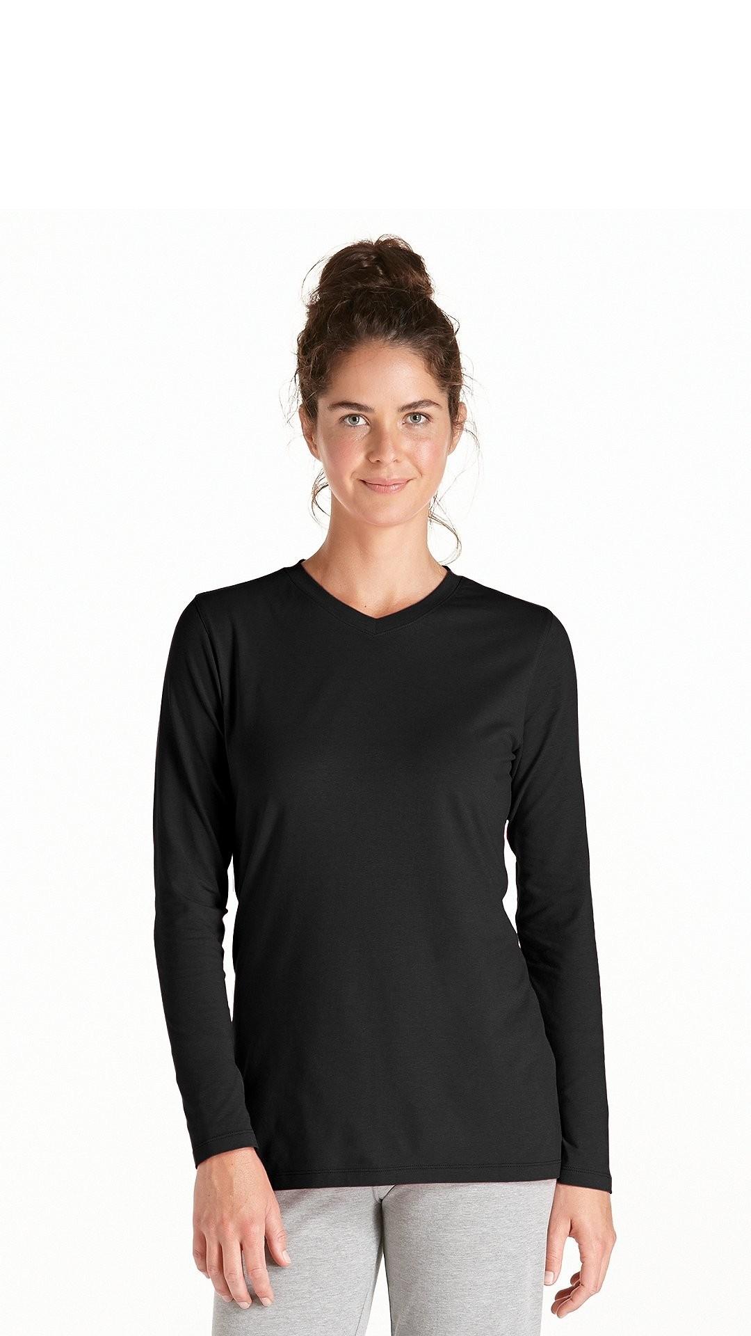 10bdce57d740e2 Coolibar dames UV shirt met V-hals en lange mouw - zwart - YOU UV