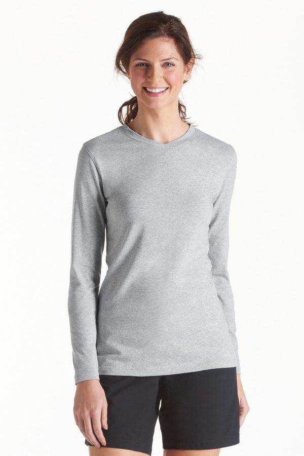 UV shirt dames v hals grijs