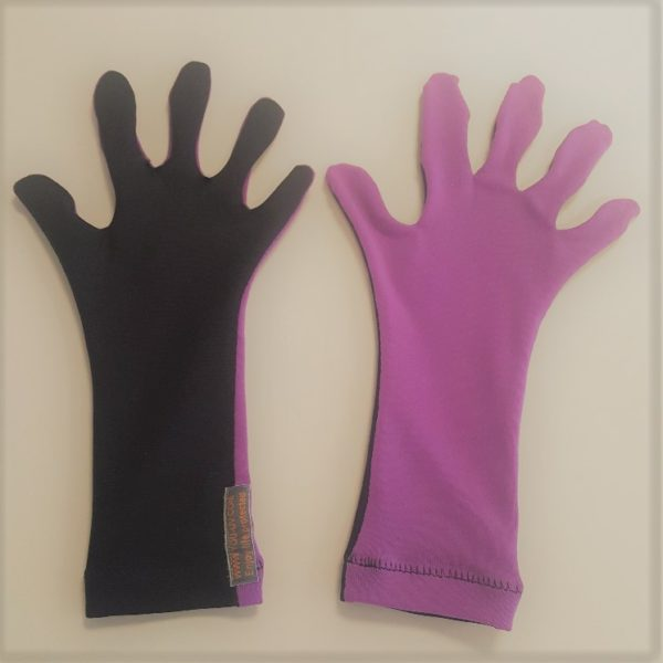 UV-werende kinderhandschoenen paars/blauw
