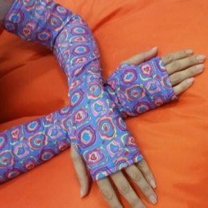 Uv handschoenen zonder vingers chloroban veelkleurig