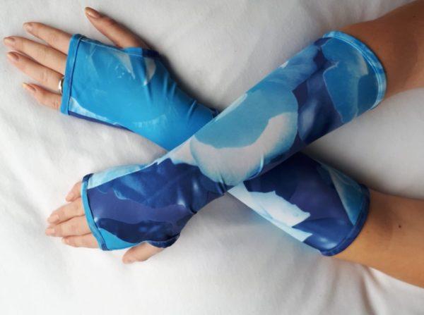 UV handschoenen zonder vingers chloroban bloem blauw.
