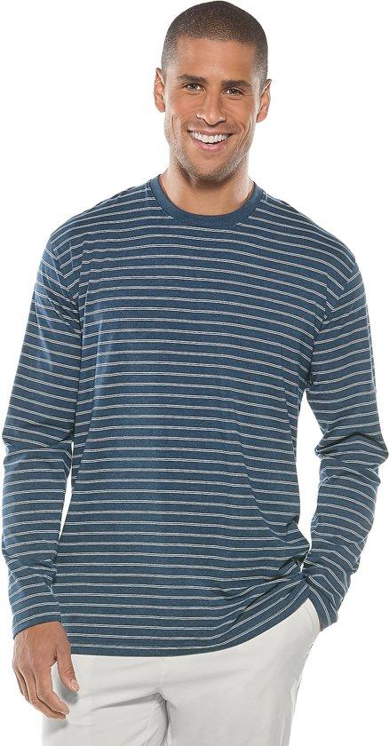 ab07bd80c2c992 Coolibar – UV-werend shirt met lange mouwen voor heren – blauw-wit gestreept