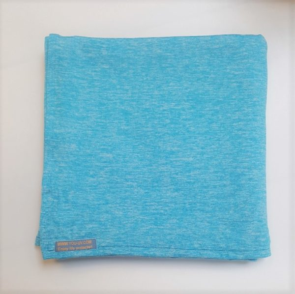 Veelzijdige grote UV-werende sjaal/omslagdoek Heather jersey turquoise