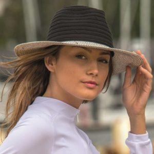 Rigon UV-fedorahoed voor dames - Zwart wit