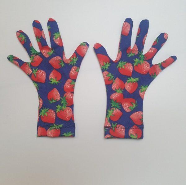 UV werende handschoenen met vingers aardbeiprint